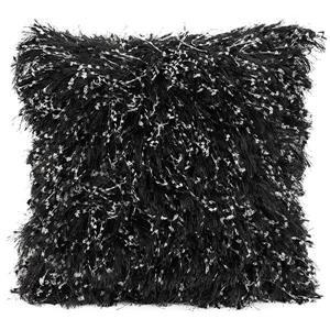 """Coussin décoratif à poil long «Shiny», 20"""" x 20"""", noir"""