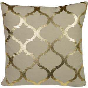 """Coussin décoratif carré «Foil», 20"""" x 20"""", or/lin"""