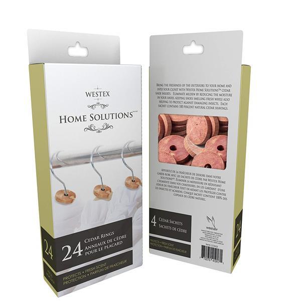 Ensemble d'anneaux de cèdre pour armoire, 24 pièces, brun