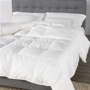 Couette en duvet et plumes canadien, lit double, blanc
