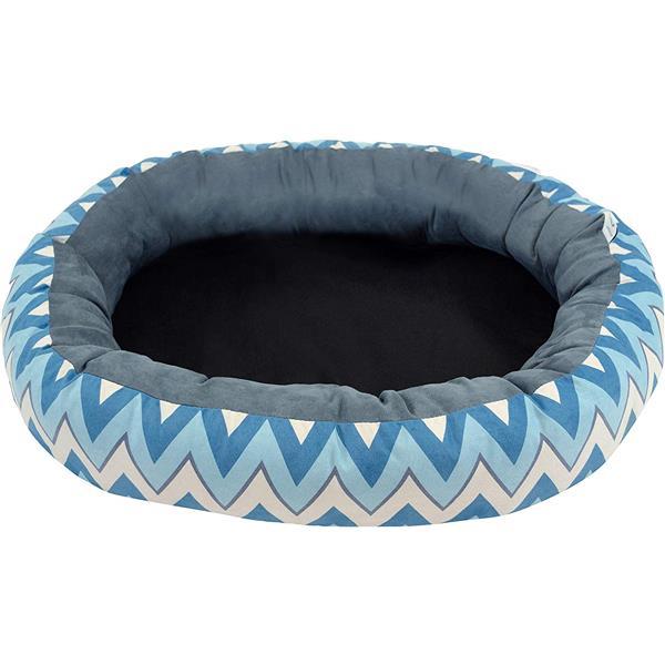 """Lit de luxe pour chien chevron ovale, 27"""" x 22"""" x 7"""", bleu"""