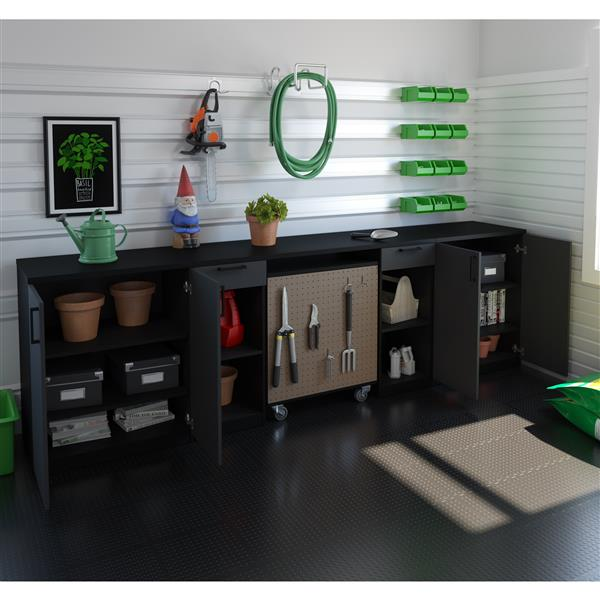 Bestar Lincoln 4-Piece Workbench  - Base Cabinets - Black
