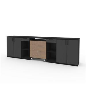 Rangement avec armoires basses, noir, 4 pièces