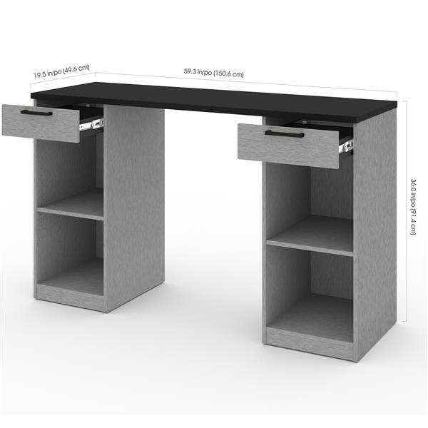 Bestar Lincoln 4-Piece Workbench  - Base Cabinets - Silver Grey