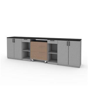 Rangement avec armoires basses, gris argent, 4 pièces