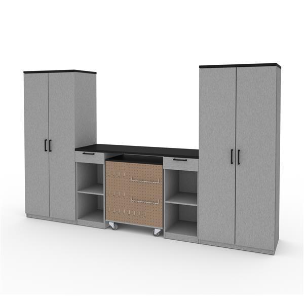 Rangement avec armoires hautes, gris argent, 4 pièces