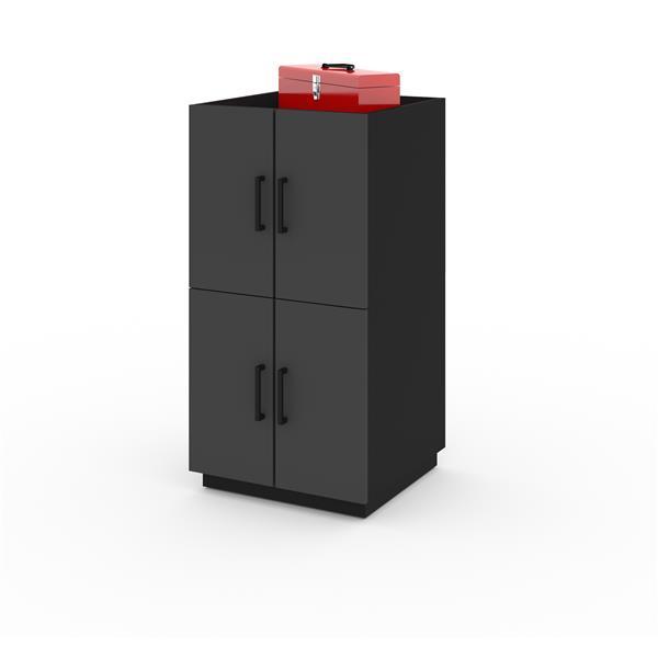 Ensemble 2 cabinets empilables et tiroirs, noir