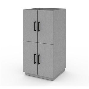 Ensemble 2 cabinets empilables et tiroirs, gris argent