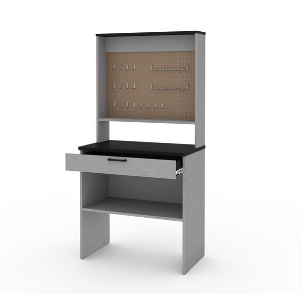 Établi 1 tiroir avec panneau perforé Lincoln, gris argent