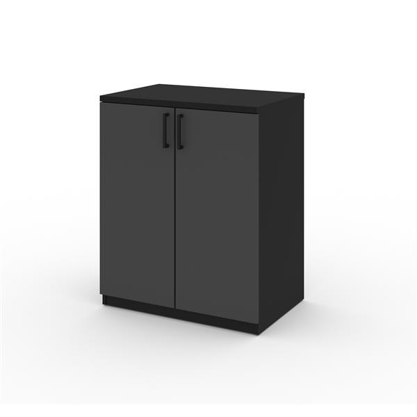 Armoire basse à 2 portes Lincoln, noir