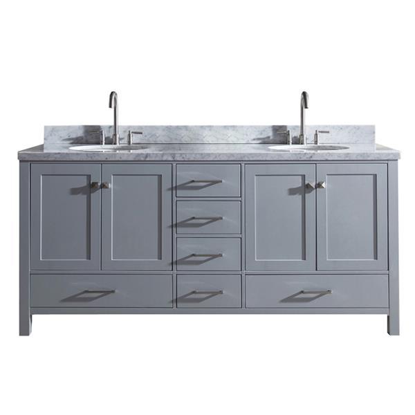 ARIEL Double Oval Sink Vanity - 6 Drawers - 73 in. - Grey