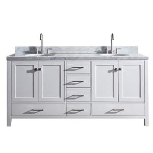"""Meuble-lavabo double, évier ovale, 6 tiroirs, 73"""", Blanc"""