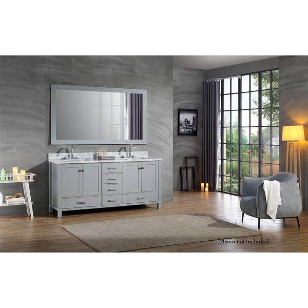 ARIEL Double Rectangle Sink Vanity - 6 Drawers - 73 in. - Grey