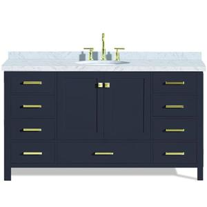 Ariel Cambridge 61-in Midnight Blue Single Sink Bathroom Vanity with White Natural Marble Top