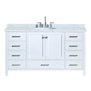 "Meuble-lavabo simple, évier ovale, 9 tiroirs, 61"", blanc"