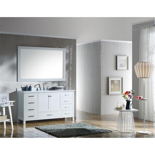 ARIEL Single Rectangle Sink Vanity - 9 Drawers - 61 in. - White