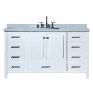 """Meuble-lavabo simple, évier rectangulaire, 61"""", blanc"""