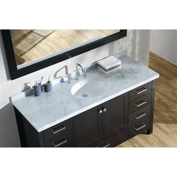 ARIEL Single Oval Sink Vanity - 9 Drawers - 61 in. - Espresso