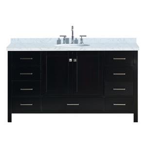 Ariel Cambridge 61-in Espresso Single Sink Bathroom Vanity with White Natural Marble Top