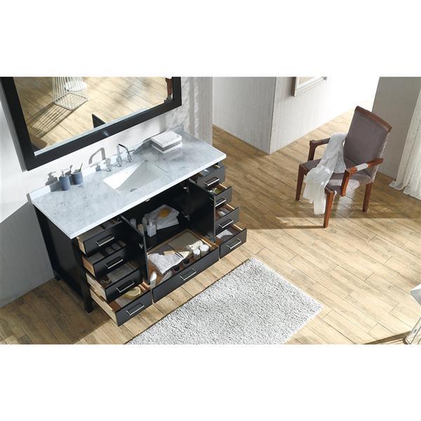 ARIEL Single Rectangle Sink Vanity - 9 Drawers - 61 in. - Espresso