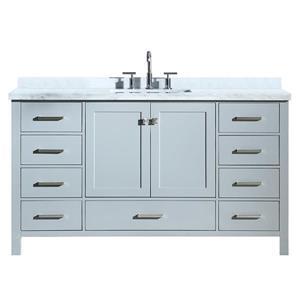 """Meuble-lavabo simple, évier rectangulaire, 61"""", gris"""