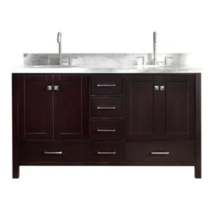Ariel Cambridge 61-in Espresso Double Sink Bathroom Vanity with White Natural Marble Top