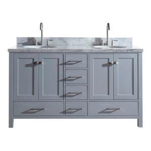 """Meuble-lavabo double, évier ovale, 6 tiroirs, 61"""", gris"""