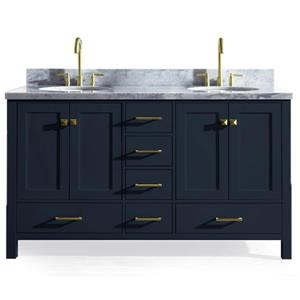Ariel Cambridge 61-in Midnight Blue Double Sink Bathroom Vanity with White Natural Marble Top