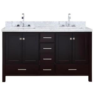 Ariel Cambridge 61-in Double Sink Espresso Bathroom Vanity with White Natural Marble Top
