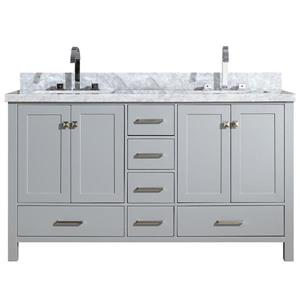 Ariel Cambridge 61-in Double Sink Grey Bathroom Vanity with White Natural Marble Top