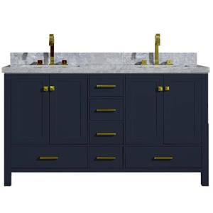 Ariel Cambridge 61-in Double Sink Midnight Blue Bathroom Vanity with White Natural Marble Top