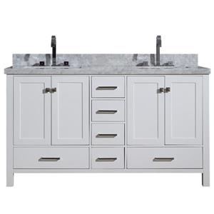 Ariel Cambridge 61-in Double Sink White Bathroom Vanity with White Natural Marble Top