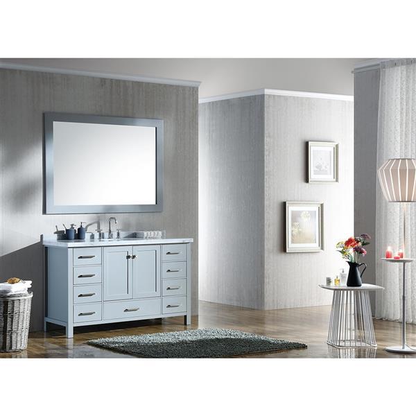 ARIEL Single Oval Sink Vanity - 9 Drawers - 55 in. - Grey