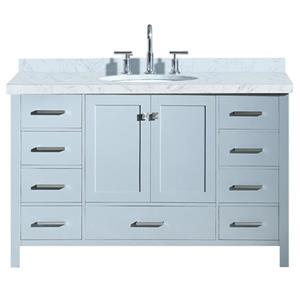 "Meuble-lavabo simple, évier ovale, 9 tiroirs, 55"", gris"