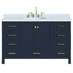 Ariel Cambridge 55-in Midnight Blue Single Sink Bathroom Vanity with White Natural Marble Top