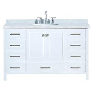 "Meuble-lavabo simple, évier ovale, 9 tiroirs, 55"", blanc"