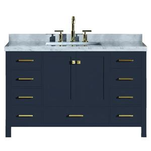 "Meuble-lavabo simple, évier rectangulaire, 55"", bleu"