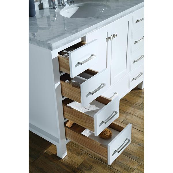 ARIEL Single Rectangle Sink Vanity - 9 Drawers - 55 in. - White