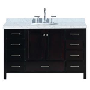 Ariel Cambridge 55-in Espresso Single Sink Bathroom Vanity with White Natural Marble Top