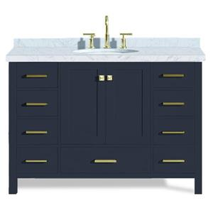 Ariel Cambridge 49-in Midnight Blue Single Sink Bathroom Vanity with White Natural Marble Top