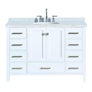 "Meuble-lavabo simple, évier ovale, 9 tiroirs, 49"", blanc"