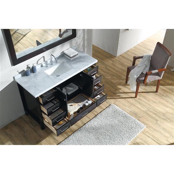 ARIEL Single Rectangle Sink Vanity - 9 Drawers - 55 in. - Espresso
