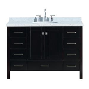 "Meuble-lavabo simple, évier ovale, 9 tiroirs, 49"", espresso"