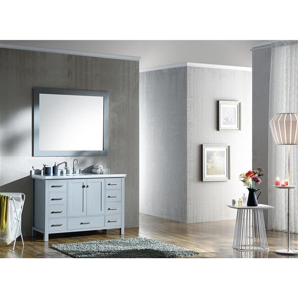 ARIEL Single Oval Sink Vanity - 9 Drawers - 49 in. - Grey