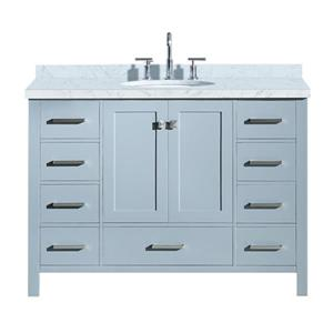 "Meuble-lavabo simple, évier ovale, 9 tiroirs, 49"", gris"