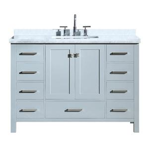 """Meuble-lavabo simple, évier rectangulaire, 49"""", gris"""