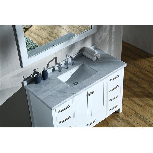 ARIEL Single Rectangle Sink Vanity - 9 Drawers - 49 in. - White