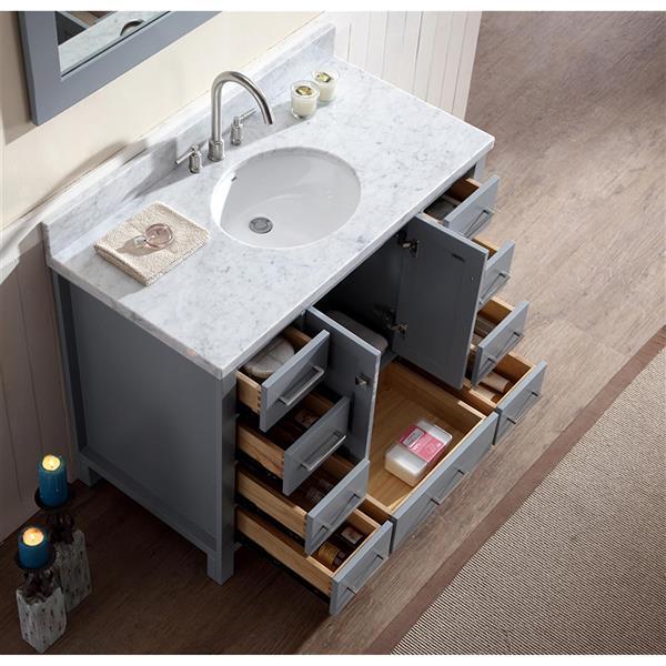 ARIEL Single Oval Sink Vanity - 9 Drawers - 43 in. - Grey
