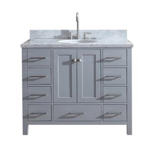"Meuble-lavabo simple, évier ovale, 9 tiroirs, 43"", gris"