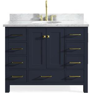 ARIEL Single Oval Sink Vanity - 9 Drawers - 43 in. - Blue